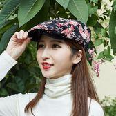 帽子女夏天貝雷帽休閒民族風前進帽花朵蕾絲時尚帽戶外遮陽鴨舌帽 生日禮物