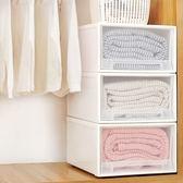 衣服箱子儲物箱塑料收納箱抽屜式收納柜透明衣柜收納盒衣物整理箱XQB 全館免運88折