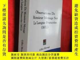 二手書博民逛書店Observations罕見de Monsieur Menage