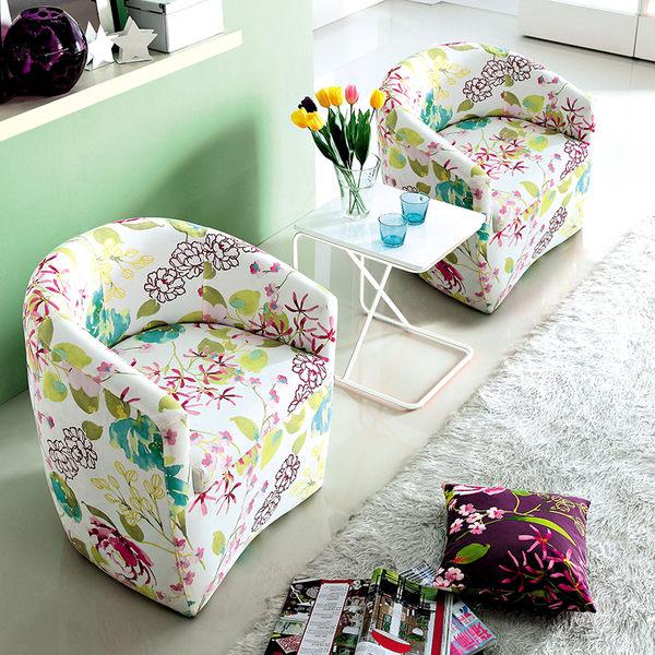 【森可家居】華爾茲花布小沙發 7JX157-1 布沙發休閒椅 單人 布套可拆洗