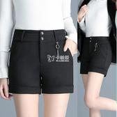西裝短褲女新款韓版中年大碼高腰修身顯瘦外穿黑色百搭   卡菲婭