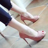 魚嘴高跟鞋 歐美魚嘴鞋春季細跟高跟鞋淺口時尚單鞋女黑色OL百搭女鞋igo   Cocoa