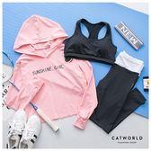 Catworld SUNSHINE GIRL。BRA背心加上衣長褲運動套裝三件組【16600226】‧S/M/L/XL