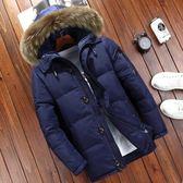男士冬裝加厚羽絨服 真毛領連帽