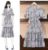 洋裝連身裙中大尺碼L-4XL/女裝雪紡碎花裙R30.9817