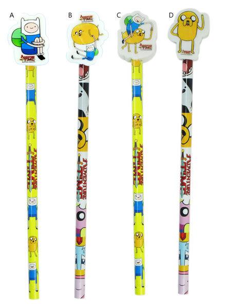【卡漫城】 探險活寶 木頭 鉛筆 四入一組 ㊣版 老皮 阿寶 附造型橡皮擦 Adventure Time