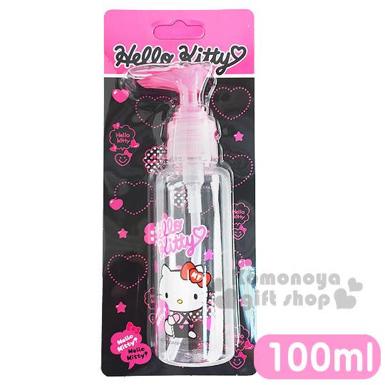 〔小禮堂〕Hello Kitty 按壓式空瓶《透明.粉.坐姿.拿愛心.吊帶褲.100ml》可自由補裝內容物 5712977-46303