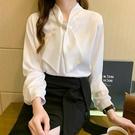 緞面上衣 襯衫女士設計感小眾春季新款蝴蝶結襯衣長袖緞面真絲雪紡上衣-Ballet朵朵