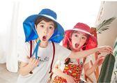 兒童帽子春遮陽帽男童男孩防曬帽女童漁夫帽女孩沙灘帽大帽檐夏天