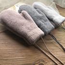 冬男女款加絨加厚保暖平板包指全指兔毛手套超暖防寒騎護掛脖手套 店慶降價