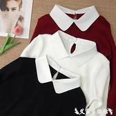 假兩件針織上衣 春秋針織衫加絨釘珠娃娃領時尚上衣白色打底衫女小翻領假兩件毛衣 艾家