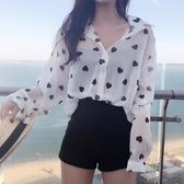 夏季新款薄款透視愛心印花長袖防曬雪紡衫上衣女百搭寬鬆顯瘦襯衫 居享優品