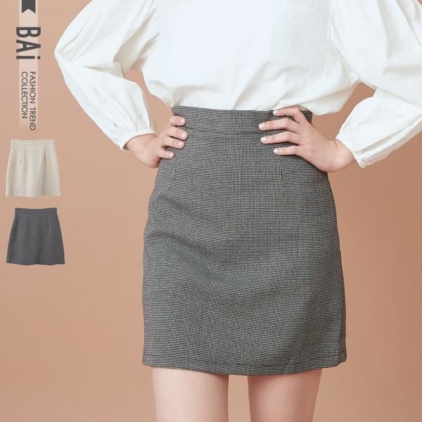 褲裙 細格壓摺後拉鍊A字短裙S-L號-BAi白媽媽【190891】
