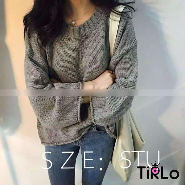 針織衫 -Tirlo-短版寬袖捲邊針織衫-四色(駝現貨)