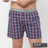 【JEEP】五片式剪裁 純棉平口褲(深藍紅格紋)