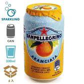 聖沛黎洛 氣泡水果水 罐裝-甜橙口味(330mlx6入)│飲食生活家