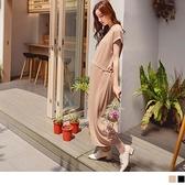 《MA0430》涼感針織素色反折袖孕婦長洋裝(附腰帶) OrangeBear