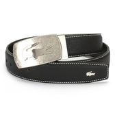 LACOSTE 荔枝紋皮革穿式/扣式皮帶兩件組(黑色)009201