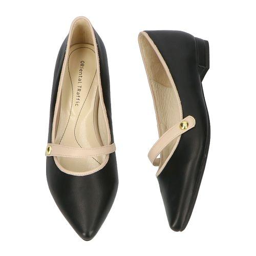 【ORiental TRaffic】優雅一字尖楦平底鞋-優雅黑
