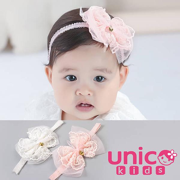 UNICO 韓版 兒童可愛網紗蝴蝶結蕾絲髮帶