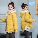 【V9215】shiny藍格子-保暖冬搭.冬季寬鬆加厚短款羽絨棉襖外套