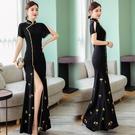 越南旗袍洋裝 夏季新款2021中國風手工繡花改良旗袍連身裙舞蹈演出走秀華服
