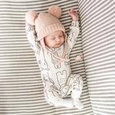ins圍巾小熊寶寶純棉保暖秋冬加厚連體衣嬰兒外出長袖哈衣爬爬服 新年特惠