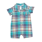 Carter s卡特 襯杉西裝短袖兔子裝 綠格紋 | 男寶寶連身衣(嬰幼兒/baby/新生兒)