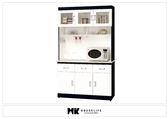 【MK億騰傢俱】BS284-01黑白配4尺石面碗盤餐櫃組
