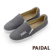 Paidal 電繡X灰色毛線織紋平底樂福鞋懶人鞋