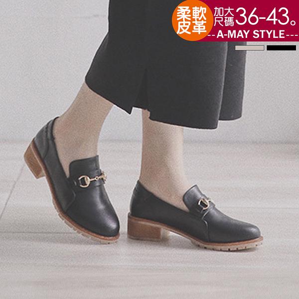 紳士鞋-雅緻金屬釦飾粗跟鞋(36-43加大碼)