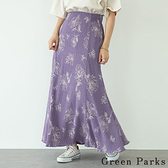 「Summer」典雅花朵印花飄逸長裙 - Green Parks