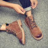 靴子 馬丁靴男中幫好康新品皮質高幫工裝靴百搭短靴英倫風沙漠潮靴子男
