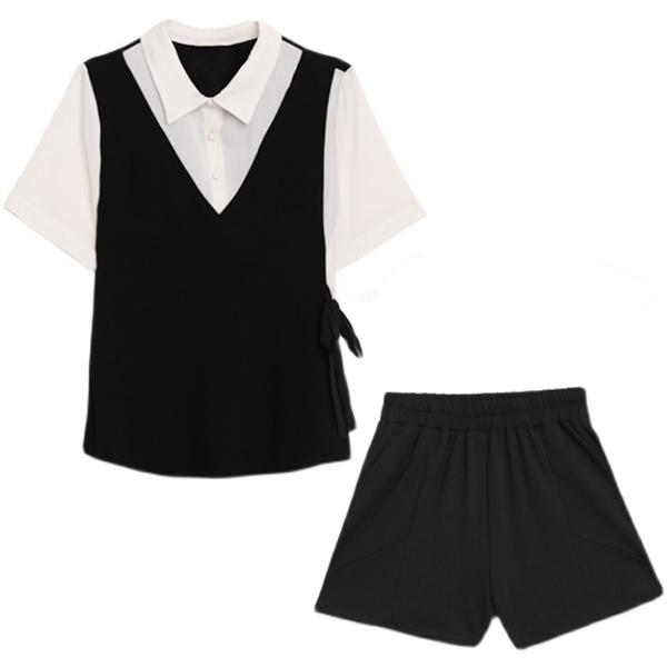 翻領收腰綁帶上衣+口袋短褲 L~4XL【855576W】【現+預】-流行前線-