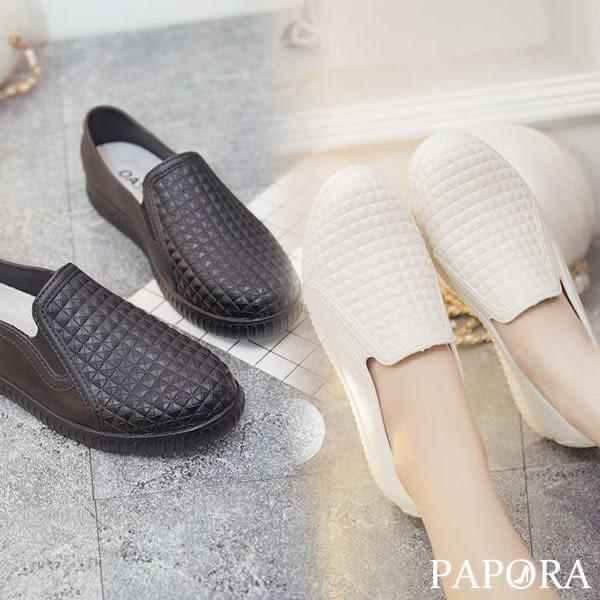 PAPORA格紋晴雨二穿防水包鞋休閒鞋KJSM-8010黑/白
