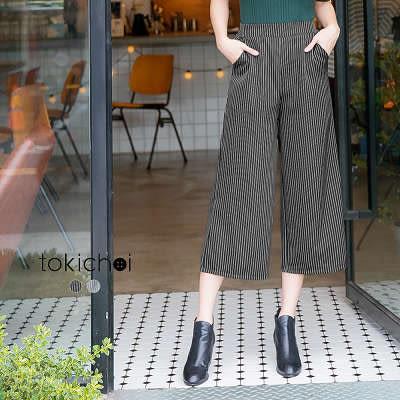 東京著衣-歐美都會條紋寬管褲-S.M.L(172327)