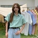 春夏穿搭2021新款復古港風薄款外穿綠色短袖襯衫外套小個子上衣女