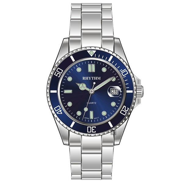 RHYTHM日本麗聲 Sport 100米石英手錶-藍x銀/40mm RQ1601S04