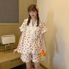 睡衣 夏季甜美日系蕾絲V領綁帶薄款短袖女裝兩件套家居服短褲套裝 - 風尚3C
