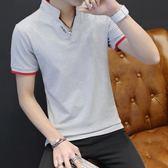 新款男士立領短袖T恤韓版修身潮流半袖上衣服個性帥氣桖 卡布奇諾 11-8