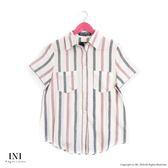 【INI】氣質知性、日系棉麻料條紋襯衫上衣.紅色