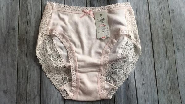 【京之物語】日本製Puccele 粉色蕾絲女性舒適三角內褲M.LL