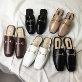 新款金屬扣包頭半拖鞋流行女鞋懶人平底鞋方頭涼拖鞋穆勒鞋