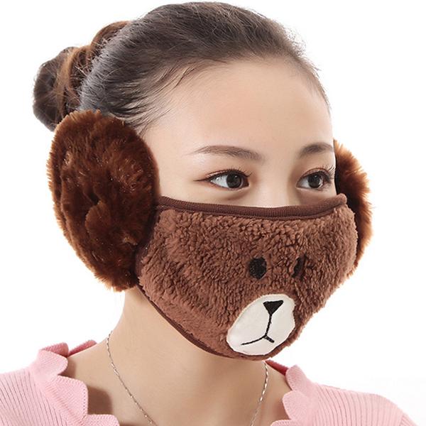 【獨愛3C用品】【買三送一】冬季必備保暖卡通造型小熊絨毛防塵口罩耳罩二合一(編號5/深棕色)