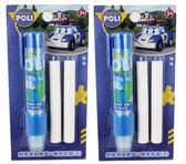 【卡漫城】 POLI 自動 橡皮擦 & 補充 二包組 ㊣版 按壓式 擦子 擦布 Robocar 救援 打火 小英雄 波力