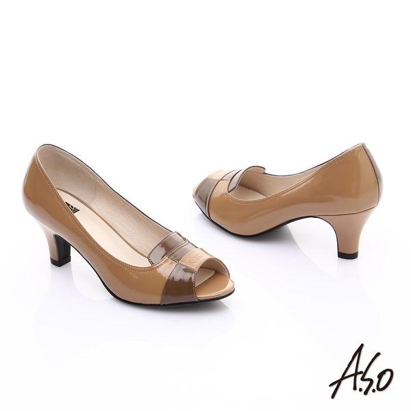 A.S.O 減壓美型 全真皮方塊配色拼接魚口高跟鞋 卡其