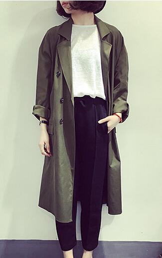 [超豐國際]春裝寬松西裝外套上衣長款雙排扣風衣女休閑薄款開衫1入