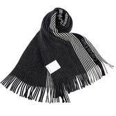 CalvinKlein CK新款拼色條紋流蘇圍巾(黑色)103215