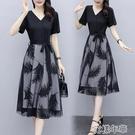 大碼洋裝連身裙女夏季新款中長款大碼收腰顯瘦假兩件網紗拼接a字裙 快速出貨