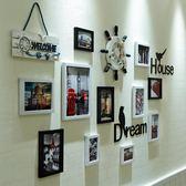 歐式照片墻裝飾夾子懸掛無痕釘客廳相片墻創意相框掛墻組合連身掛